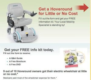 """This web ad for Hoveround scooters boasts of their availability to patients for """"little or no cost."""""""