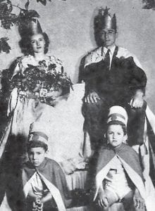 Margie Slemp and Steve John were the Queen and King of the 1946 Hallowe'en Carnival. Sitting were Donald Woodford Webb (left) and Ronald Newton Collier.