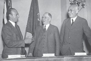 THE TVA'S FIRST BOARD — Members of the first board of directors of the Tennessee Valley Authority, shown here after a hearing before Congress in Washington, D.C., were, from left, David E. Lilienthal, Dr. H.A. Morgan and Dr. Arthur E. Morgan. (AP Photo)