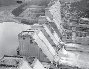 NORRIS DAM — The Tennessee Valley Authority's Norris Dam was nearing completion when this aerial view was photographed on July 22, 1935. The 265 foot high, 1,860 foot long dam created one of the world's largest reservoirs, inundating five counties and creating a lake with an 800-mile shoreline. (AP Photo)