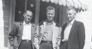 Marlowe friends the late Tommy Hatton, Harrison Stidham and Bernard Banks of Cowan are pictured at the Marlowe Church.