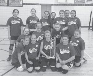Cowan Elementary School placed second in the B and C team volleyball tournament held at Whitesburg Middle School. Letcher Elementary took first place in both B and C events. Pictured are Cowan players (first row, left to right) Olivia Hammock, Destiny Eldridge, Sandara Baker, Abby Meade, Shenoa Frazier, (middle row) Randi Boggs, Haley Banks, Makenzie Craft, (back row) Whitney Scott, Brittany Smith, Makenna Johnson, Madison Crase, Rebecca Eldridge, Katelyn Cole and Bethanie Monroe. Shawn Mynster is the Cowan coach.