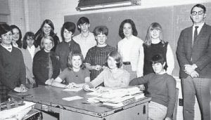 Pictured is the Black Kat staff of 1969, co-editors, Nika Rose Stallard and Gobby Tolliver; copy, Kathy Pigman and Karen Kincer; sports, Codell Gibson, Larry Craft, Roy Crawford and Barbara Hunsaker; feature writers, Terry Jackson, Mable Sumpter, and Patsy Adams; reporters, Emma Sexton, Paula Collins, Mark Adams, Mike Conatser, Danny Mohn and Stuart Lewis; and advisor, Carl B. Banks.