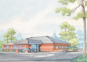 An architect's rendering of the DaVita Raven Rock Dialysis center to be located at Jenkins on the Gateway Industrial Park.