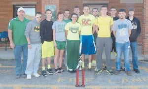 — The Jenkins High School Track Team placed second at the South Laurel Invitational track meet on April 20. Jenkins was the only Class 1A team competing in the event. Members are (seniors) Koty Sexton, Charlie Cox, Josh Collins, Steven Damron, Channing Richardson, (juniors) Baylee Rose, Brad Adams, CJ Machniak, (sophomores) Tanner Goff, Reanna Elswick, Nick Gibson, Dylan Bentley, freshman Ryan Turner, and 8th grader Audie Fields.