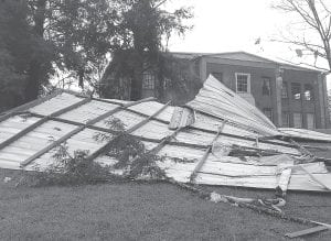 Winds from an April 17 storm blew off part of the roof from the old auditorium building constructed as part of the Stuart Robinson School at Blackey.