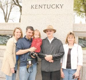 From left, April, Tom and Aaliyah Abdoo, Ray Shortt, and Teresa Johnson at WWII Memorial.