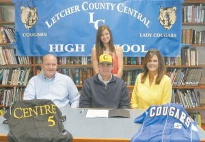 Letcher County Central High School senior Jordan Short has accepted a scholarship offer from Centre College in Danville to play baseball there. Short (center) signed the papers last week in a ceremony at the high school. Pictured from left are his father Frank Short, Jordan Short, his mother Sandy Short and (back row) his sister Kiley Short. The Shorts live in Fleming.
