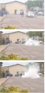 The photos above were grabbed from a video circulating of the burnout by the Jenkins cruiser.