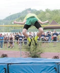 "Jenkins High School senior Josh Collins tied the JHS track record of 6'4"" for the high jump set 25 years ago at Bob Amos Park in Pikeville on May 2. This is his first year of track."