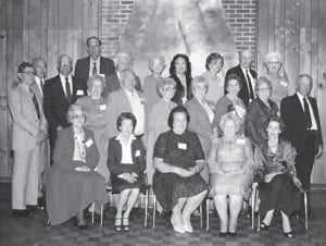 Members of the class of 1939 at their reunion in 1987 are (first row, left to right) Vivian Day Adams, Irene Blair Schopler, Irene Stamper Hughes, Agnes Sexton Crawford, Hazel Mullins Walters, (second row) Bill Kincer, Vashti Combs Riggle, Owen Sexton, Doris Adams Webb, Mable Jo Collins Buttrey, Mary E. Routley Kibbey, Mary Moncrief Webb, Charles Daugherty, (third row) Ted Cook, Wm. Fred Gibson, Mabel Holbrook Amburgey, Christine Profitt Eaves, Henrietta Frazier, Bruce Banks, Ruby Fields Prater, (fourth row) Dan Combs andOliver Rose