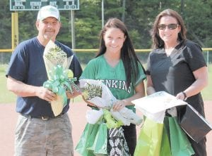 Jenkins senior Ally DePriest posed with parents Todd and Hope DePriest before the May 16 game against Shelby Valley.