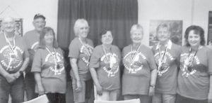 The Ermine seniors went to the Senior Games in Knott County last week and brought home 16 medals. Pictured are (left to right) Carl Parrott, Ralph Collier, Rose Collier, Lydia Hall, Sharon Amburgey, Janice Foster, Nell Vance and Pat Wright.