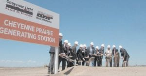 Ceremonial ground was broken last week for new natural gas power plant in Wyoming. (AP Photo)