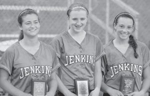 AMONG TOURNEY'S BEST — Named to the all-region team in the 14th Region were Jenkins High School's Mercedes Boggs, Whitney Creech and Caitlynn Estevez. (Photo by Paul Stambaugh)
