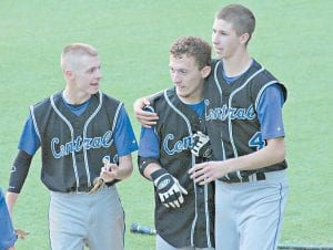 LCC players Jordan Rose, Stephen Fox and Max Hall celebrated after the extra-inning win over 14th Region rival Estill County in a win that kept the Cougars' championship hopes alive.