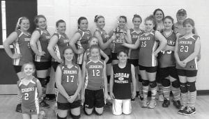 """Jenkins Middle School Volleyball Team finished third in the county after winning only one game the previous year. Coach Amanda Anderson said the team had players """"from kindergarten and third grade through middle school. We started practice on a Monday and played our first game on Tuesday, and we beat Fleming-Neon and Whitesburg."""" Players shown in this photo are (back row from left) Madison Sergent, Emily Knight, Makayla Briggs, Alyssa Rose, Destiny Murphy, Ashley Calhoun, Haley Mullins, Melissa Baker, Stephanie Church, Trinity Beauparlant, Coaches Amanda Anderson and Lenny Anderson, (front row from left) Chloe Webb, Tamara Isom, McKinley Goodson, Lynsey Anderson, and Ballboy Peyton Rose."""