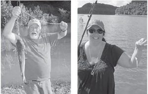 Johnny and Tammy Whitaker are pictured with their weekend catch at Lake Cumberland near Jabez. He caught a 21-inch catfish, the biggest of the day, and she proudly shows off her prize-winning catch as well.