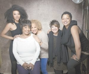 "Singers (from left) Judith Hill, Merry Clayton, Darlene Love, Tata Vega and Lisa Fischer from the film ""Twenty Feet from Stardom."" The documentary about backup singers also features Mick Jagger, Bruce Springsteen, Bette Midler and Stevie Wonder. (AP Photo)"