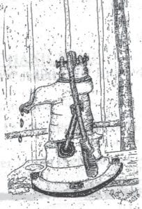 This illustration of a hand pump was drawn by Roy Swiney of Jeremiah.