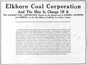 "This half-page advertisement by the Elk Horn Coal Corp. appeared in a special ""progress edition"" put together by then-Mountain Eagle editor Nehemiah M. Webb and published on May 28, 1931, during the Great Depression."