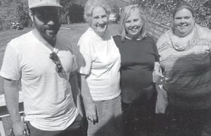Pictured from left to right are Andrew Wobbe, son of Jane Ellen Cox; Oma Hatton; Jane Ellen Cox, daughter of the late Mae and Jack Cox; and Eleanor Wobbe, daughter of Jane Ellen Cox.