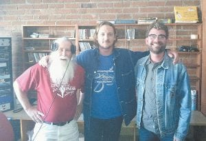 "Jim ""Wiley Quixote"" Webb, left, singer Sturgill Simpson and lead guitarist Adam Davis of the band Sturgill Simpson and High Top Mountain recently posed for a photograph at the WMMT studio in Whitesburg."