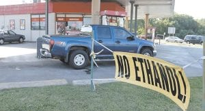 This photo shows a sign advertising no ethanol gasoline available at a station in Oklahoma City. (AP Photo)
