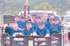The Letcher County Young Guns, a 9-10 year old traveling baseball team from the Whitesburg Little League, recently competed in the Trooper Island Baseball Tournament in Harlan. The Young Guns beat teams from Hazard, Harlan, Tri-Cities, and Knox County and made it to the championship game. The team is pictured above with the second-place trophy. From left to right are Dylan Brock, Isiah Adams, Jonah Fitch, Jonah Little, Zack Cornett, Ethan Brown, Luke Holcomb, Matt Craft, Canaan Cunniff, Kory Webb and Sam Little.