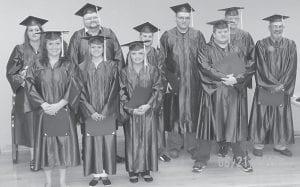 Students graduating from the 2012-2013 GED program are (front row, left to right) Vanessa Dingus, Kayla Pratt, Brandy Slone, Adam Hall, (back row) Krystal White, David Fields, Brian Sexton, Marcus Jent, Josh Maggard and Richard Jensen.