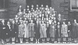 WHS GIRLS RESERVE 1940 — Front row, Mrs. Salling, Enilla Crase, Susan Frazier, (twin) Taylor, Louise Williams, Jessie Pendlenton, Kathryn Black, Florence Hale, Marieta Boyd, Eileen Bentley, Mary Evelyn Hale, Sybil Dawahare, Minta Combs, Norma Codospoti, Paulline Stallard, second row, Alice Fields, Marie Adams, Anna Reece Caudill, Minerva Ruth Zimmerman, Clarice Lynch, Johnny Marie McIntosh, Eleanor Fairchild, Mary Jo Whitaker, Mary Jane Squires, Laura Asher (in front of Mary Jane), third row, Faye Bowen, Zoe Hart, (twin) Taylor, Eunice Combs, Betty Jo Picklesimer, Kathryn Webb, Carolyn Hayes, Reba Williams, Fourth Row: Helen Rautley, Inez Blair, Marie Boone, Ruby Craft, fifth row, Juanita Gish, Mable Pigman, Bobby Jean Thompson, Beta Combs, Bonnie Hall, Jane Blair, sixth Row, Louise Long, Eva Dale Stallard, Janice Mullins, Lena Lee Renaker, Loretta Coldiron, Emma Carolyn Hart, seventh row, Louise Barnett, Peggy Williams, Mattie Ward, Iva Lee Blair, eighth row, Sally Adams, Judy Craft, Mary Glenn Jenkins, Manta Banks, Lucille Stamper, Laura Lee Slemp.