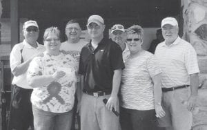 The third annual Pairing for a Purpose golf tourney at the Jenkins Golf Course raised $7,000 for Relay for Life. Participants for the Neon Lions Club are (front row, left to right) Alberta Perry, Jason Hogg, Debbie Hogg, Phillip Adams, (back row) Dr. Sam Quillen, Paul 'P.M.' Hogg and Jeff Breeding.