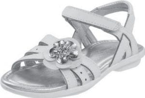 'It is silly to worry about the dangers of a flower' on this sandal made by Stride Rite (left).