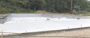The Jenkins City Swimming Pool is under construction near the city's water reservoir, but is far from being finished. (Photo by William Farley)