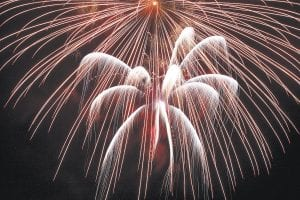 The City of Whitesburg was forced to cancel some of its July 4 celebration festivities because of stormy and wet weather, but the fireworks show went on as planned and has drawn praise for being one of the best ever. (Photo by Thomas R. Biggs)