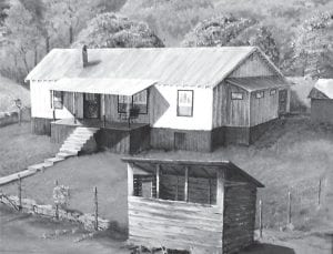 Elva Pridemore's son painted this rendering of her family's house as it appeared after it was remodeled the first time. The house is still standing, but has been remodeled again.