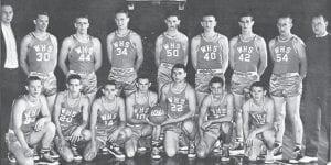 THE 1960-61 YELLOWJACKETS — Front row (left to right): Windell Sparks, Elman Blair, Billy Sexton, Jerry Coots, Steve Stamper, Kenneth Frazier, Jimmy Wilcox, (back row): Coach Don Burton, Paul Yonts, Jimmy Stamper, Martin Lewis, Coy Gibson, Kyle Raleigh, Wilgus Sturgill, J.D. Jones, and Coach Steven Carroll Sexton.