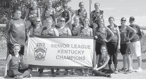 The Fleming-Neon Senior League softball team won the Kentucky State Championship against Trimble County. Members of the Fleming-Neon team are (back row, from left) Cheyenne Stidham, Lexi Stambaugh, Taylor Johnson, McKenzie Gibson, Charity Niece, (middle row, from left) manager Anthony Estevez, Alyssa Franklin, Lauren Hall, Kaitlynn Whitaker, Whitney Creech, Grayson Collier, Caitlynn Estevez, Rachel Spangler, coaches April Charles and Rick Damron. Seated are Melissa Bartley (left) and Katie DePriest.