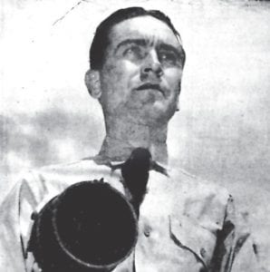 Shown operating a signal lamp as part of the training at the U.S. Naval Reserve Officers' Indoctrination School at Tucson, Ariz., is Lt. (jg) Elmer Blair, USNR. He graduated from the school July 12, 1943 after receiving his commission during fighting in North Pacific waters. Blair formerly held the ranking of hospital apprentice first class. (U.S. Navy photo)