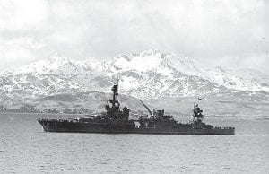 The USS Louisville steamed out of Kulak Bay, Adak, Aleutian Islands, during World War II. (National Archives and Records Administration)