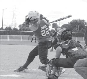 Whitney Creech hit a home run for the Fleming-Neon Senior League. (Photo by Paul Stambaugh)