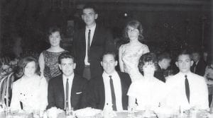 On the senior trip to Washington, D.C. were (seated, left to right) Shirley Gilliam, Doug Gentry, Darrell Holbrook, Ellen Armstrong, Randy Fields,(standing) Sherry Conaster, Gary Garrett, and Sandy Bloomer.