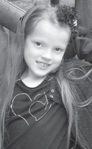 Hannah Nicole Ruth Profitt turns seven years old today (Wednesday). Her parents are Ralph and Patty Profitt of Little Colley, and she has an older brother, Scott, 18. Her grandparents are the Rev. Conard and Carolyn Profitt of Isom, and Ralph and Karen Profitt of Whitesburg.