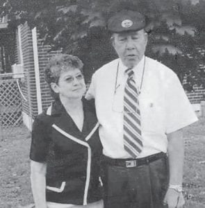 The late Roberta Willie of Roanoke, Va., is pictured with her brother Ralph Brown in her yard. Whitesburg correspondent Oma Hatton says they were Marlowe friends from way back.