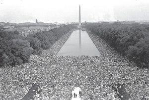 Crowds are shown in front of the Washington Monument during the March on Washington for civil rights held August 28, 1963. (AP Photo)