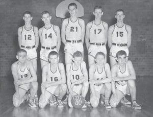 Whitesburg High School basketball team1949-50 — Back row, left to right, Steven Carroll Sexton, Eddie Collins, Bob Stout, Leonard Duncil, Cann Craft, (kneeling) Jimmy Bert Tolliver, Dean Nease, Gerald Kincer, Ronnie Kincer and John R. Hall