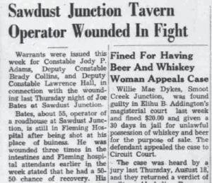 Headlines like the one above concerning Isom's Sawdust Junction were frequent in The Mountain Eagle in the 1940's and 1950's. Contributing writer Elva Pridemore Marshall says walking by the businesses at Sawdust Junction (the intersection of KY 7 and KY15) scared children while she was growing up in the 1940's. This clipping is from the August 25, 1949 edition of The Eagle.
