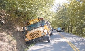 OFF (THE) ROAD VEHICLE — No students were seriously injured when a school bus went into a ditch at about 3:30 p.m. on Sept. 6 on Highway 588 at Ice. About 40 Cowan Elementary School students ranging from kindergarteners to eighth-graders were riding bus 1101, which was driven by former Letcher County Judge/Executive Carroll Smith.