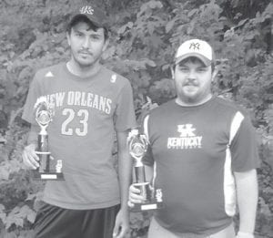 Jack Bailey and Derek Slone came in third in the cornhole tournament held during Isom Days.