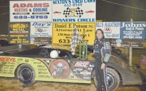 Dirt-track dominator Scott Bloomquist's first trip back to Letcher County to race in a number of years was a success last Saturday night as he won the $4,000 prize in a special race at Lucky 7 Speedway at Colson. It was Bloomquist's first visit to the track. (Photo by Brandon Meyer)